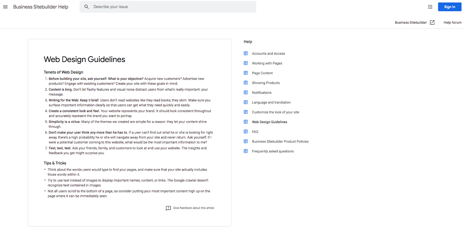 Google's proposed web design guidelines
