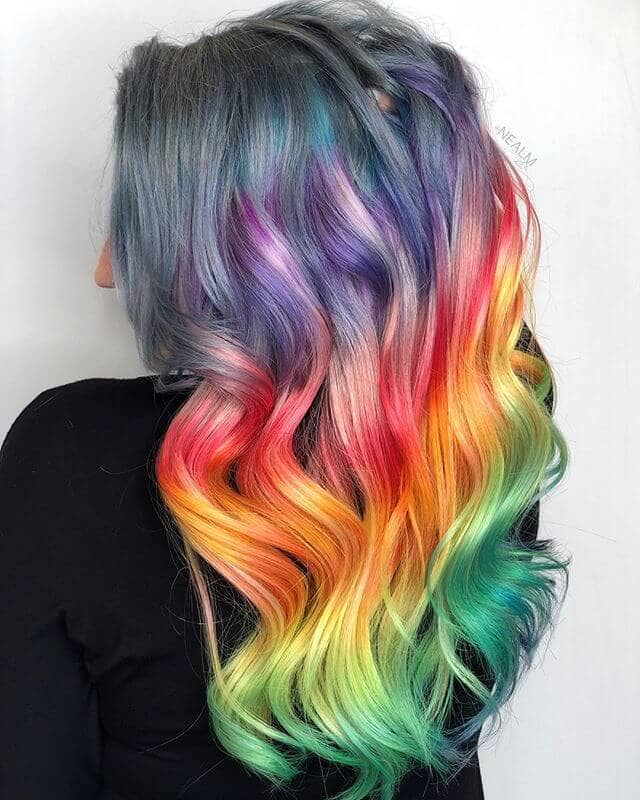 Rainbow hair fashion color