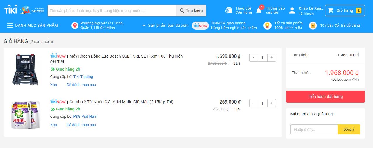 Tiến hành nhập Coupon Tiki để tiết kiệm chi phí mua sắm tại Tiki