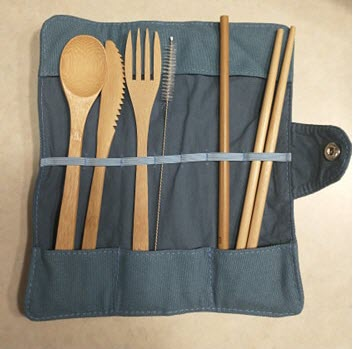 Travel bamboo cutlery set from greenUP box
