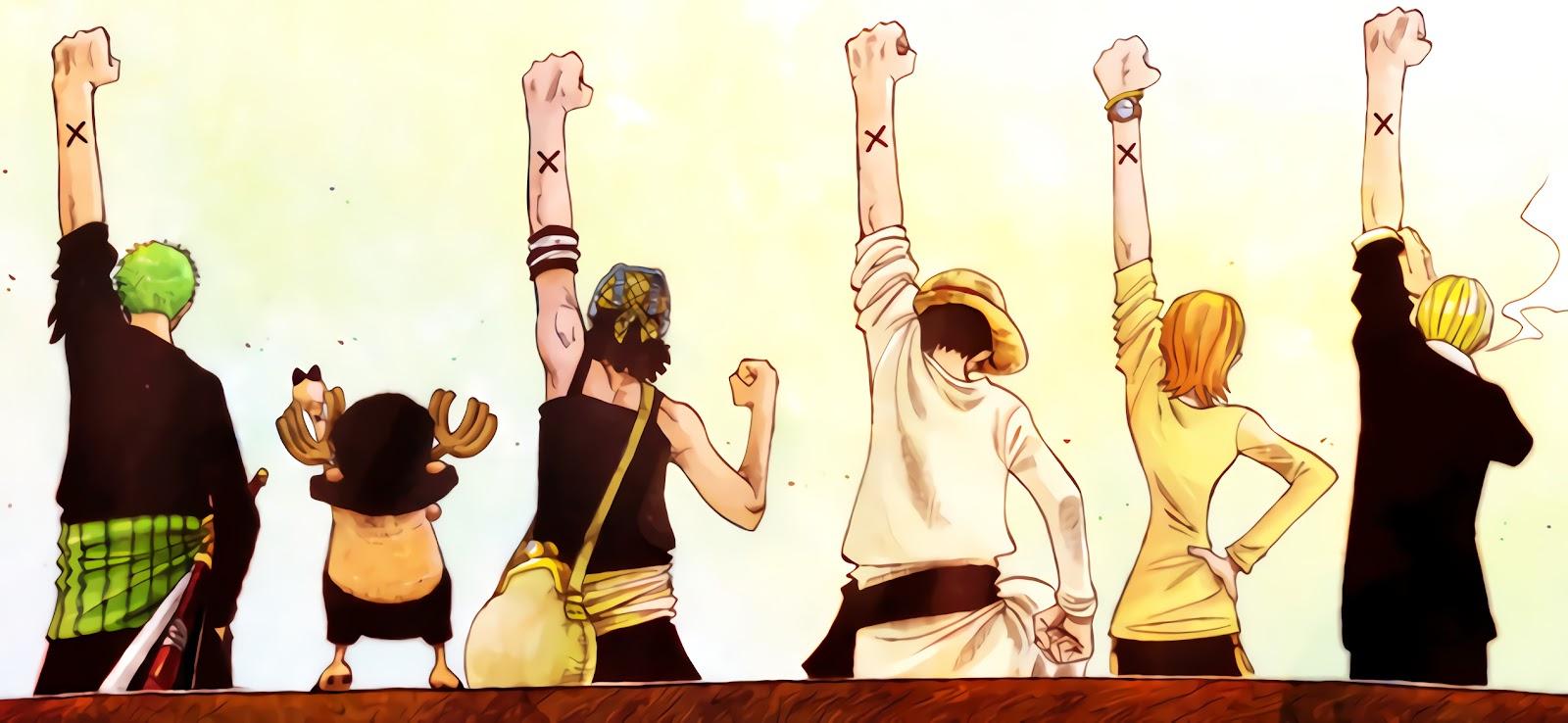魯夫與他的同伴們的背影,一起舉起左手,手背上有一個黑色叉叉。
