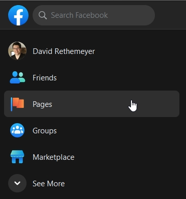 """Facebook sidebar menu with """"Pages"""" highlighted"""