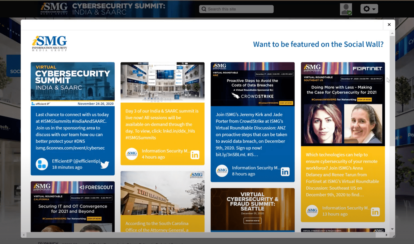 iSMG Cybersecurity Summit displays a social media feed with many comments and questions about the talks.