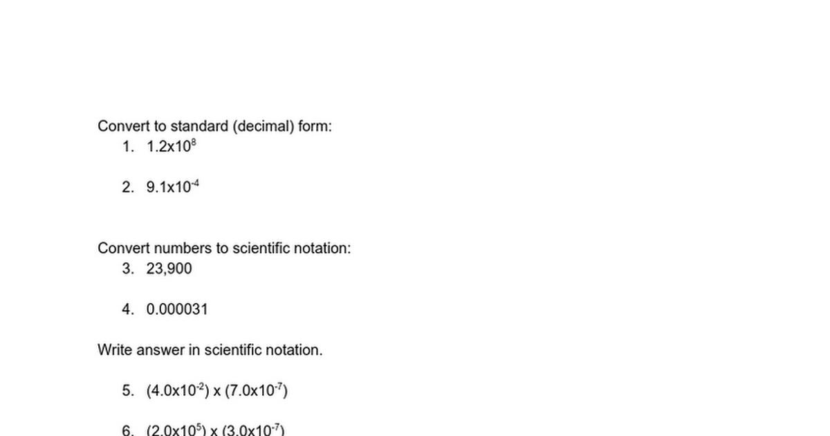 Scientific Notation Post Test Practice Google Docs