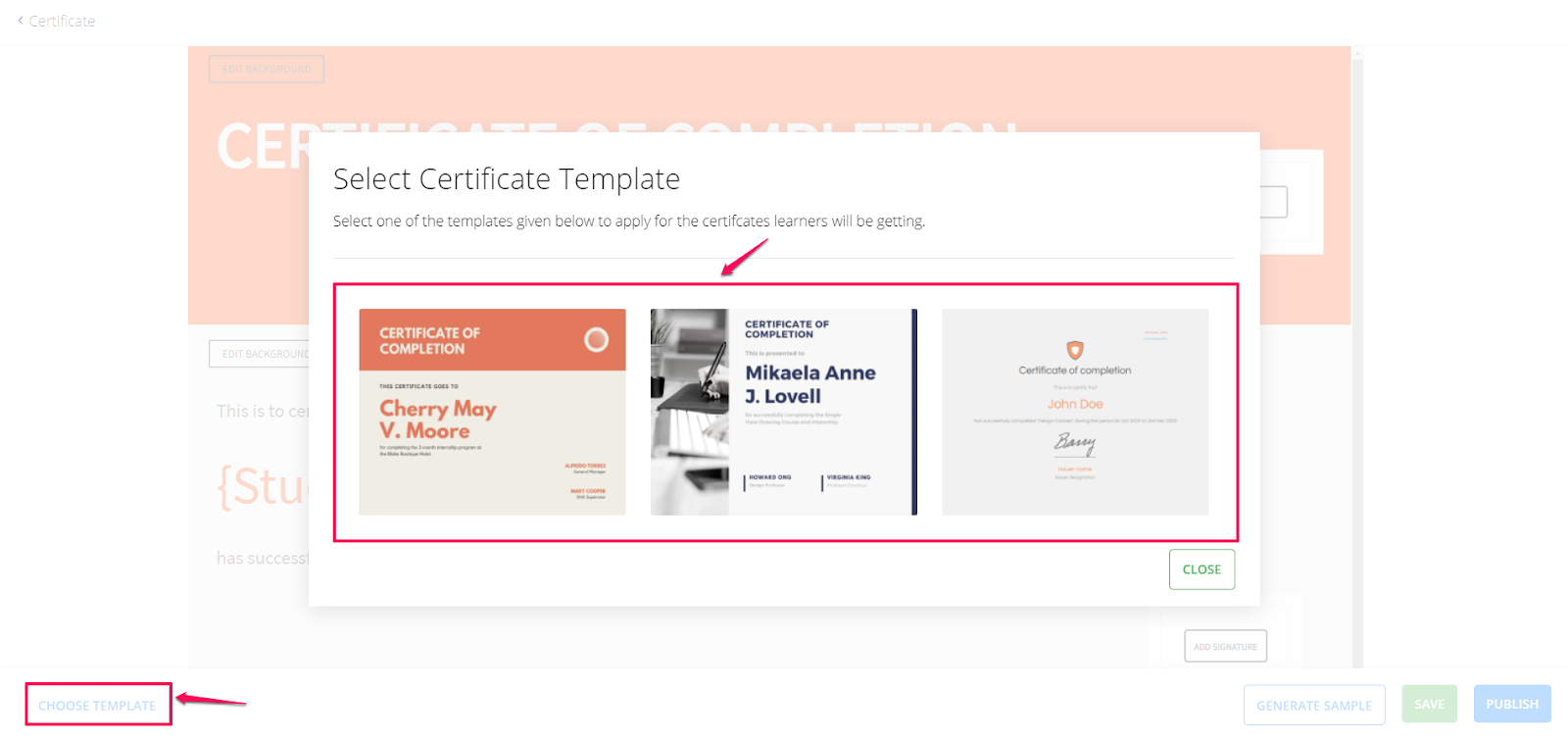 Select certtificate template