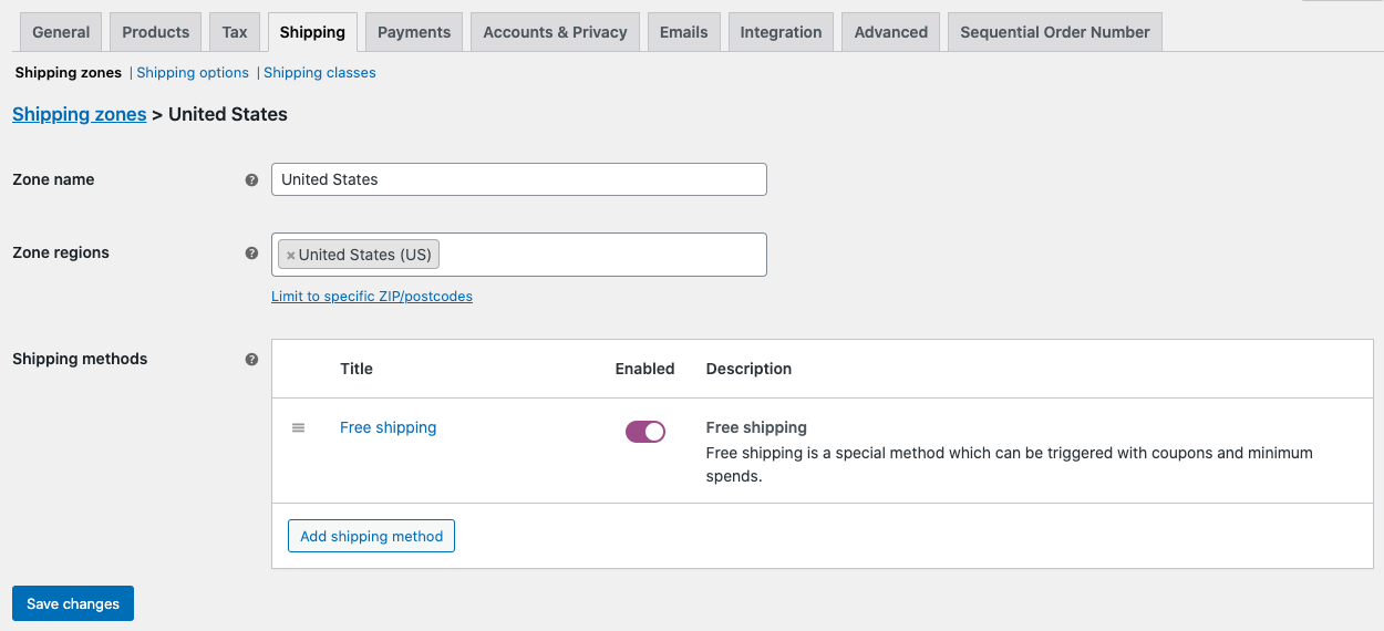 Settings to enable free shipping in WooCommerce