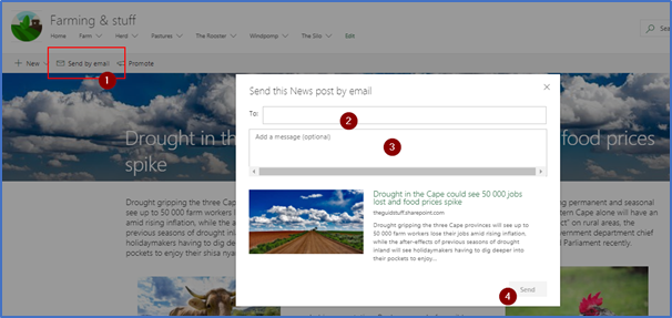 Send by email feature on SharePoint