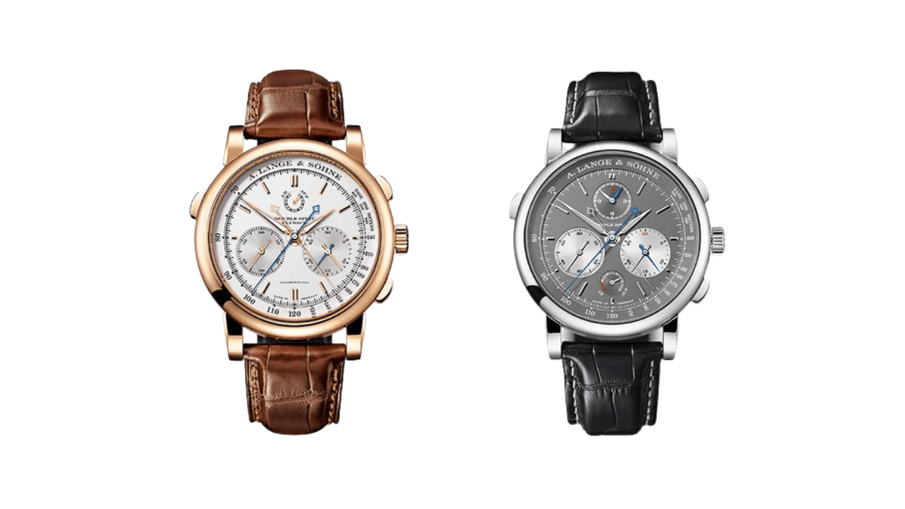 Two chronographs from A. Lange & Söhne. A double split rose gold chronograph and a triple split stainless steel chronograph.