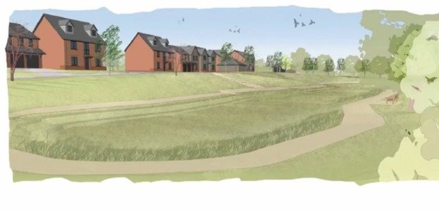 An artist's impression of the Clyst Road development of 155 homes in the Topsham gap.