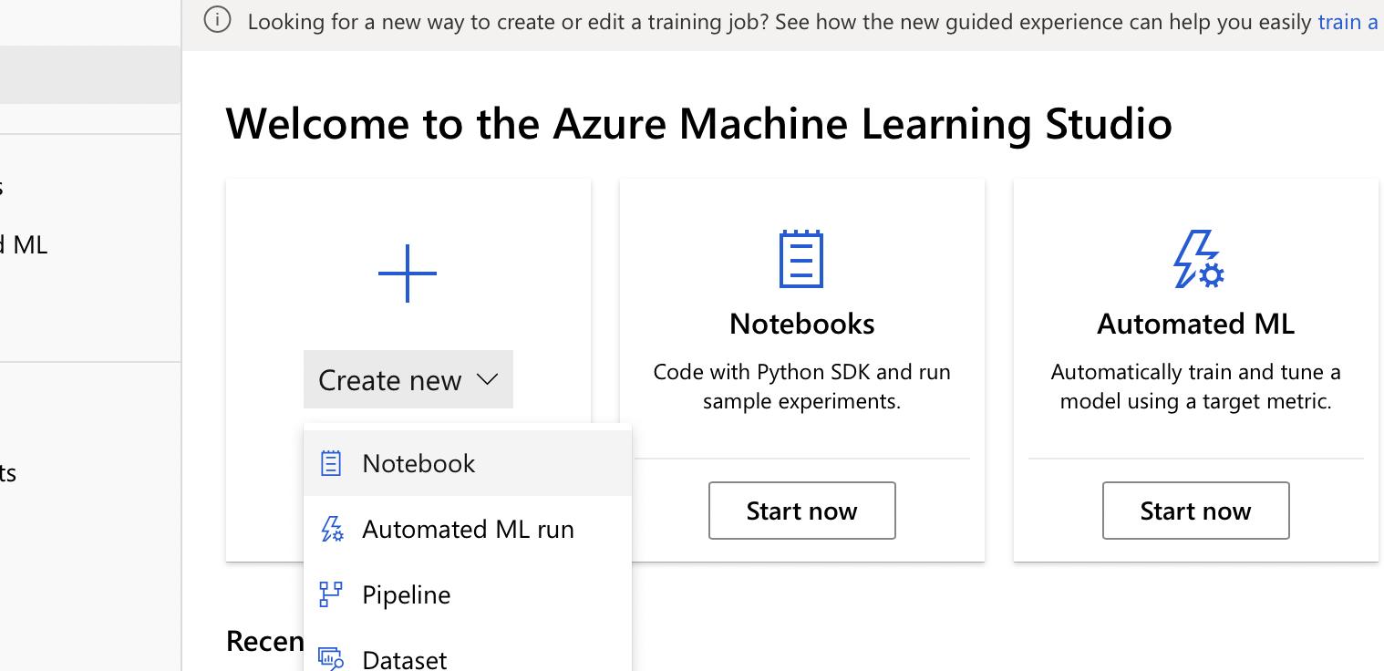 create notebook Machine learning