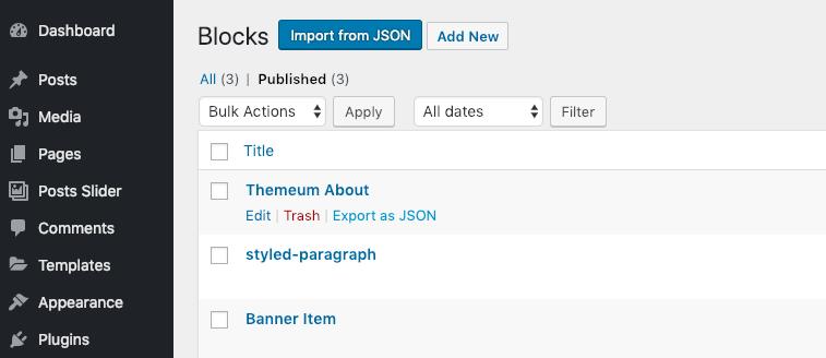 export and import Gutenberg blocks