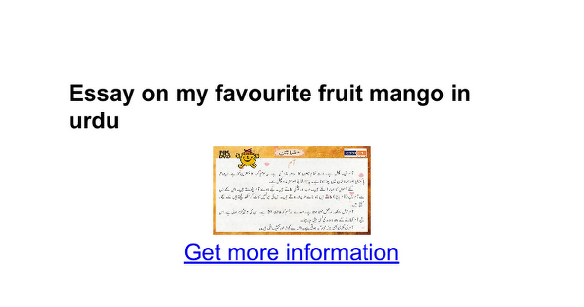 essay on my favourite fruit mango in urdu google docs