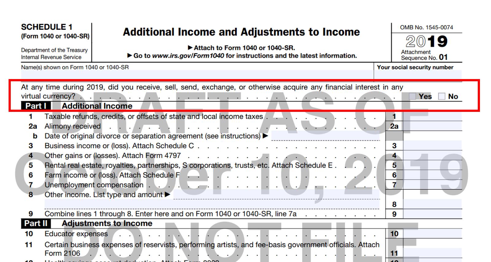 IRS Schedule 1, 2019 (draft)