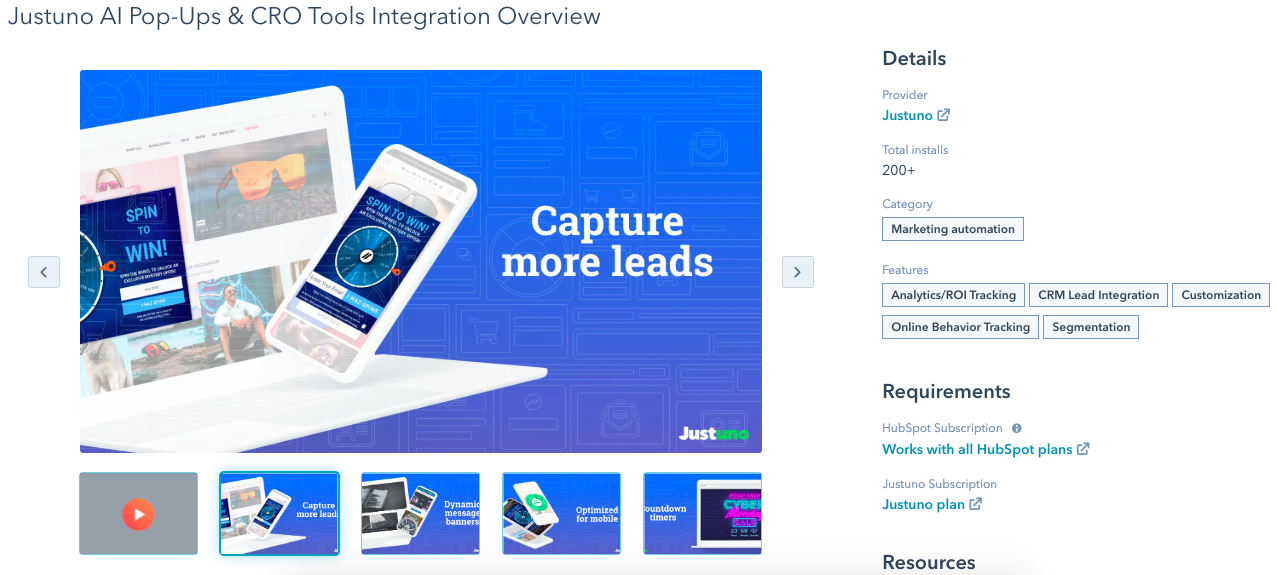 justuno hubspot integration