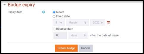 Screenshot of Badge expiry options field