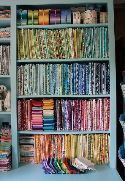 Shelves of Sorted Fabric - How to Display Your Fabric Stash