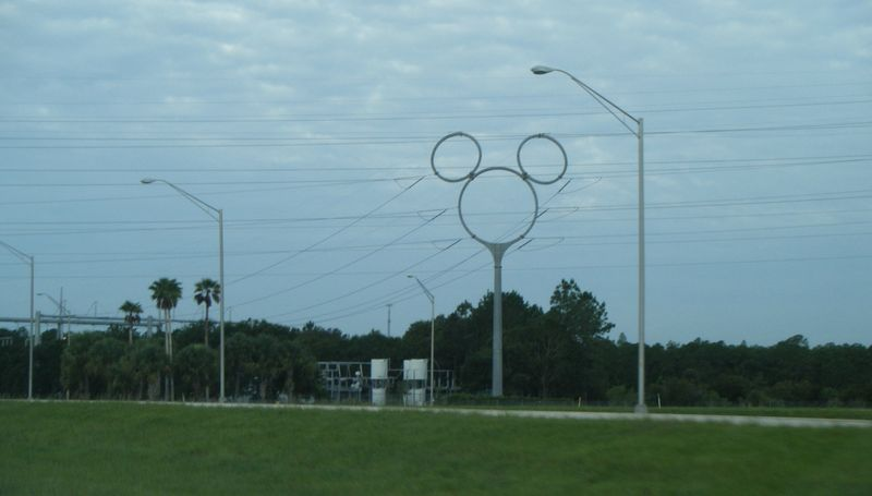 some of its electric transmission towers are shaped like Mickey Mouse