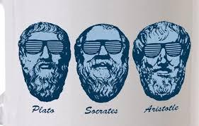 Drawings of Plato, Socrates and Aristotle with sunglasses