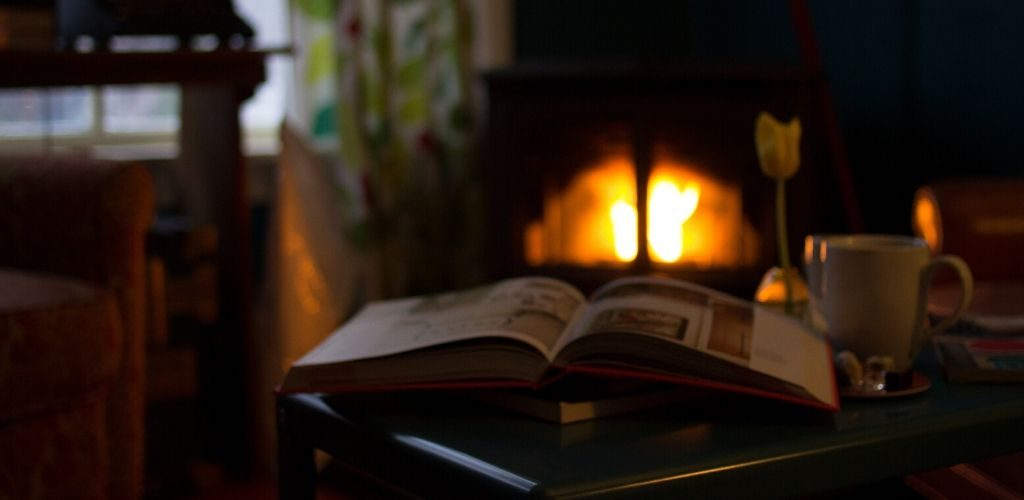Kamin und Buch