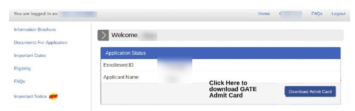 Download the GATE Admit Card 2022