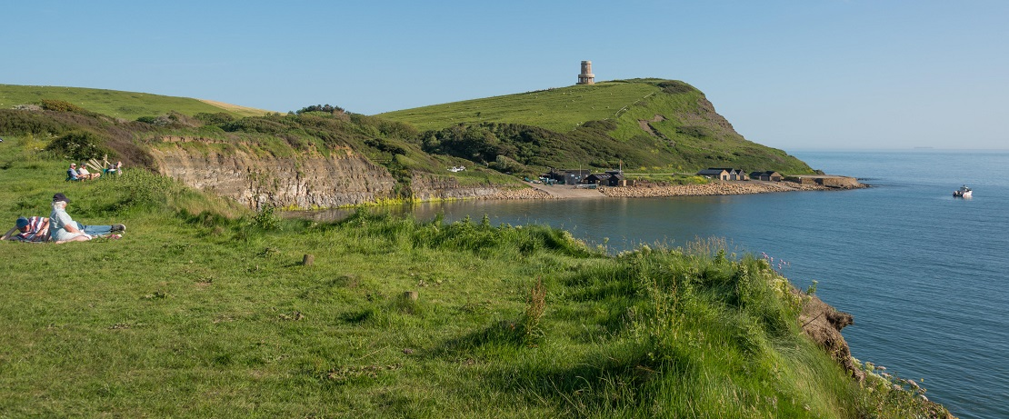 A hilly green coastline with the sea and a tower in the background
