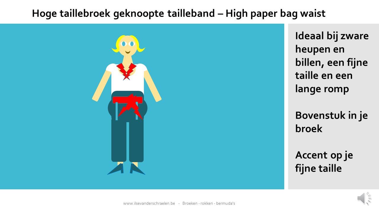 Hoge taillebroeken met geknoopte tailleband (high paper bag waist)