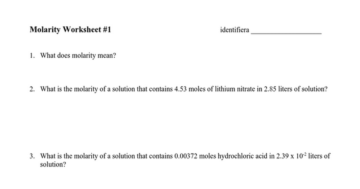 Molarity Worksheet 1doc Google Docs – Molarity Worksheet Answers