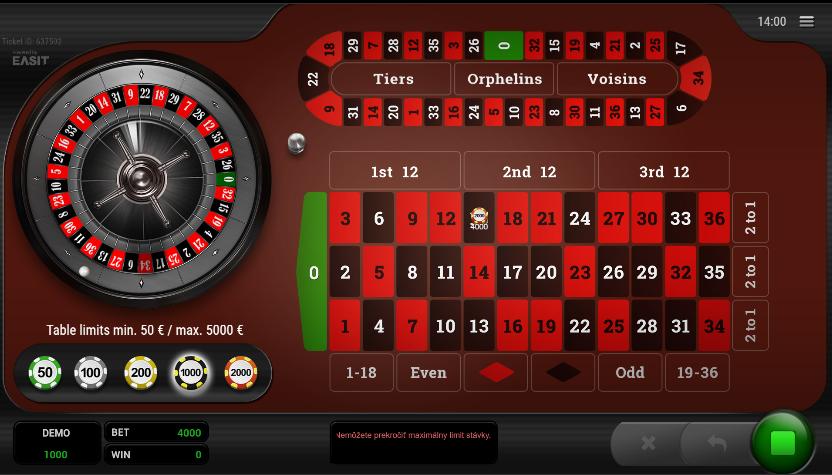 Roulette Platinum VIP výhry