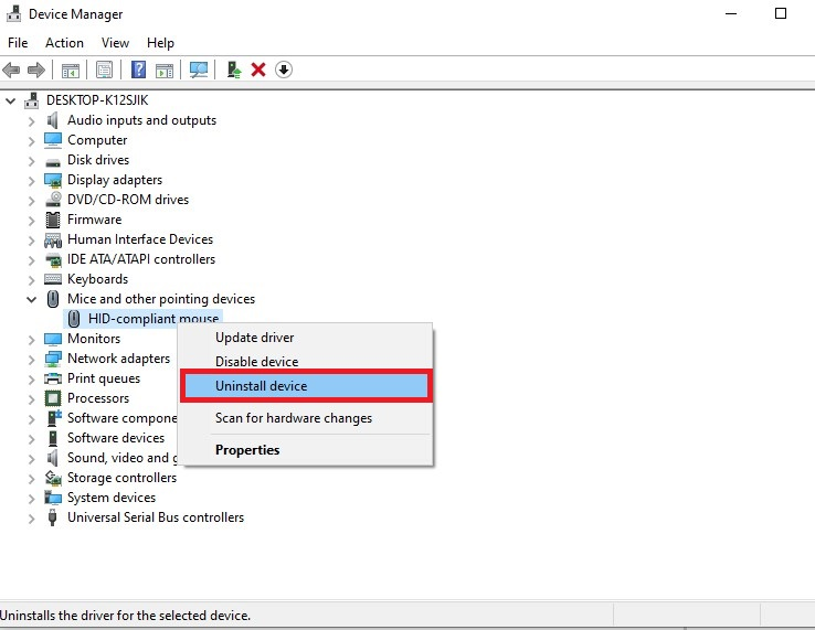 Select a device from the list and right-click it, then select Uninstall device.