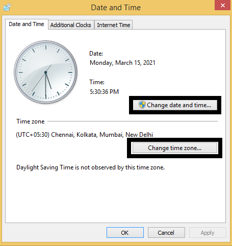 Update the Date and Time Roblox Error Code 280