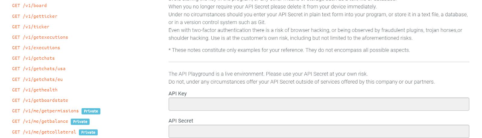 Vision de l'environnement de test API Playground proposé par bitFlyer Lightning