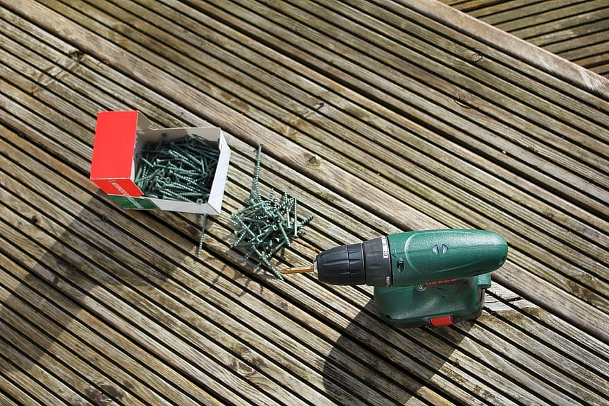 Electric screw driver on some decking
