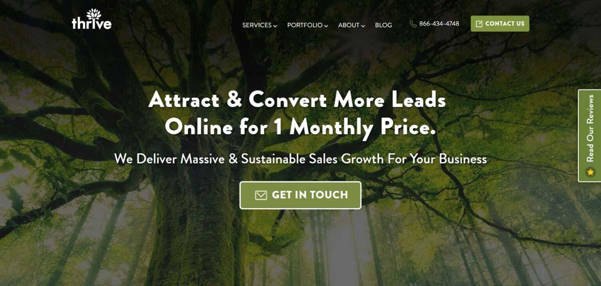 Página inicial da agência de publicidade em redes sociais Thrive Agency