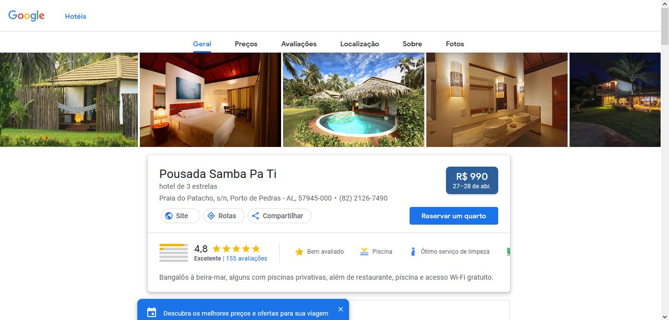 captura de tela com informações sobre a pousada samba pa ti, em porto de pedras