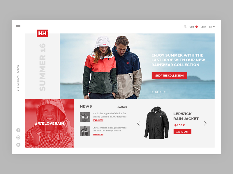 product page of Helly Hansen