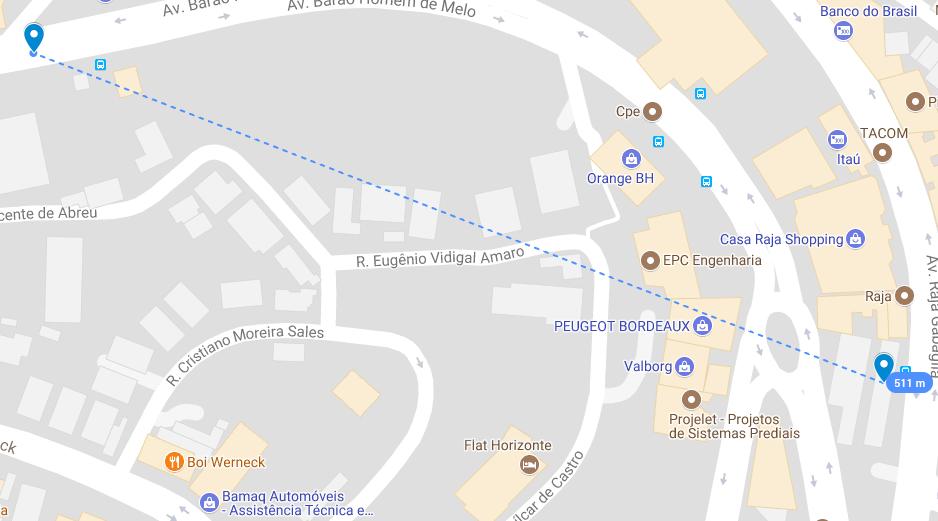 Distância entre o imóvel ID3, no canto superior esquerdo, e ID4, no canto inferior direito (511m). Fonte: Google Maps.