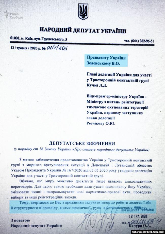 «Слуга народу» Олександр Качура звертався у травні до президента Володимира Зеленського з проханням включити його до Тристоронньої контактної групи