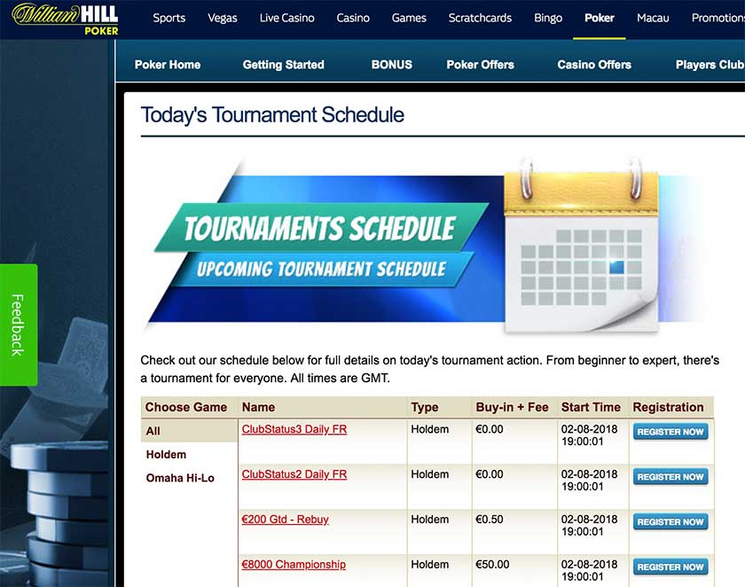 William Hill Poker расписание турниров
