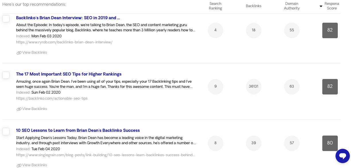 """Respona content search engine results for the query """"brian dean + interview"""""""