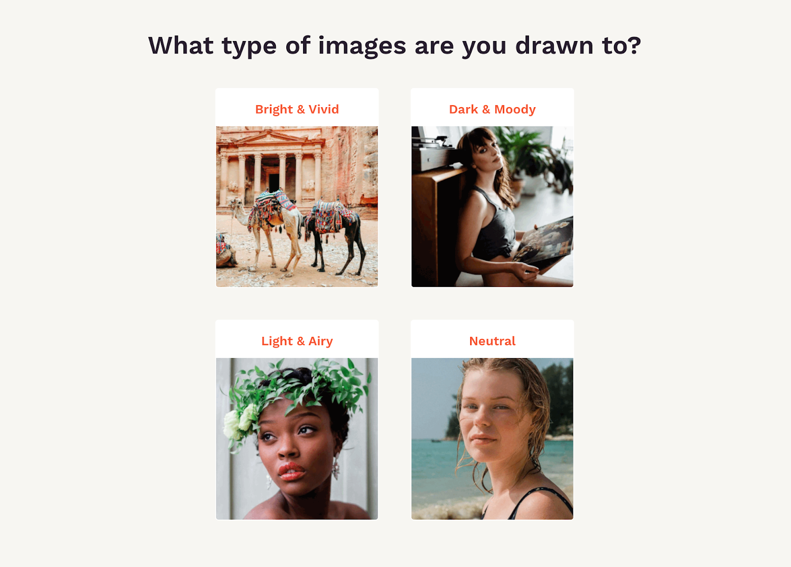 Quiz question asking what type of image a customer is drawn to the most
