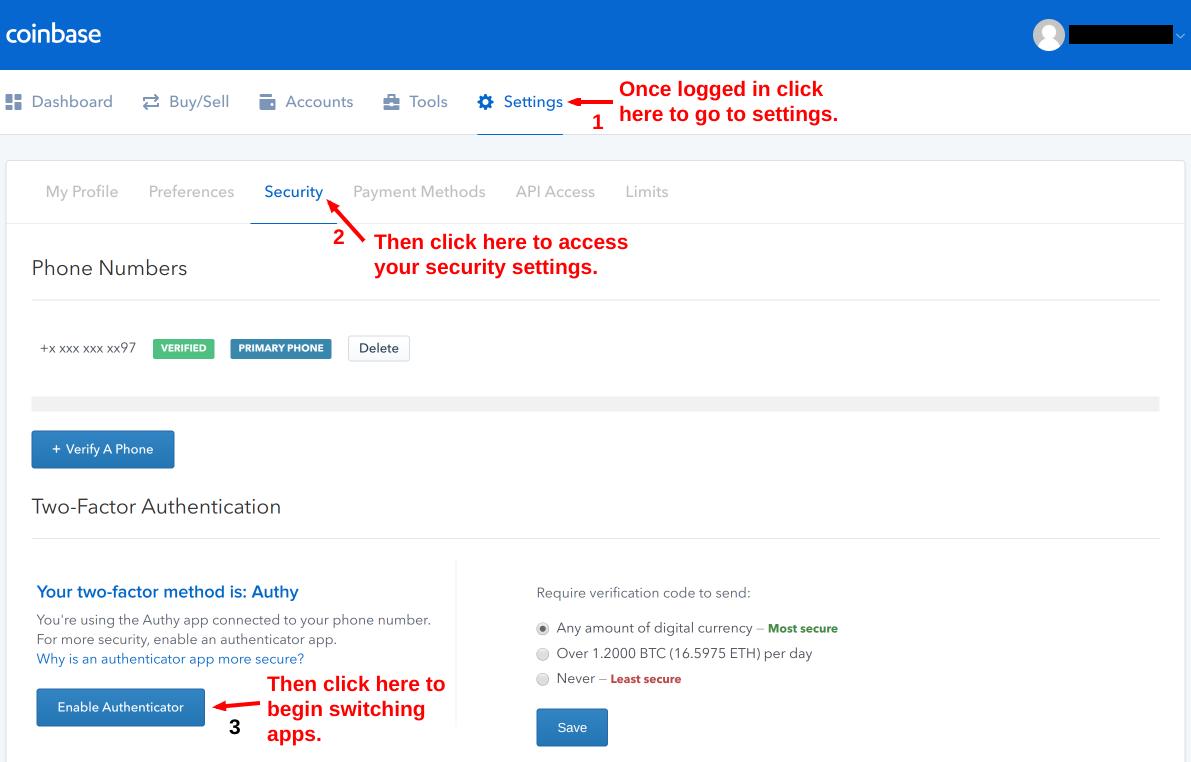 coinbase managing google authenticator