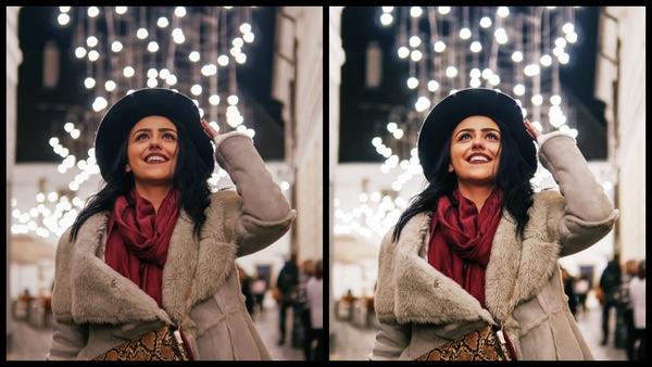 Montagem de duas fotos usando a mesma mulher com roupas de frio, olhando pra cima e com um fundo de luzes de Natal. Foto 1 sem edições e foto 2 usando o Filtro FZ-1