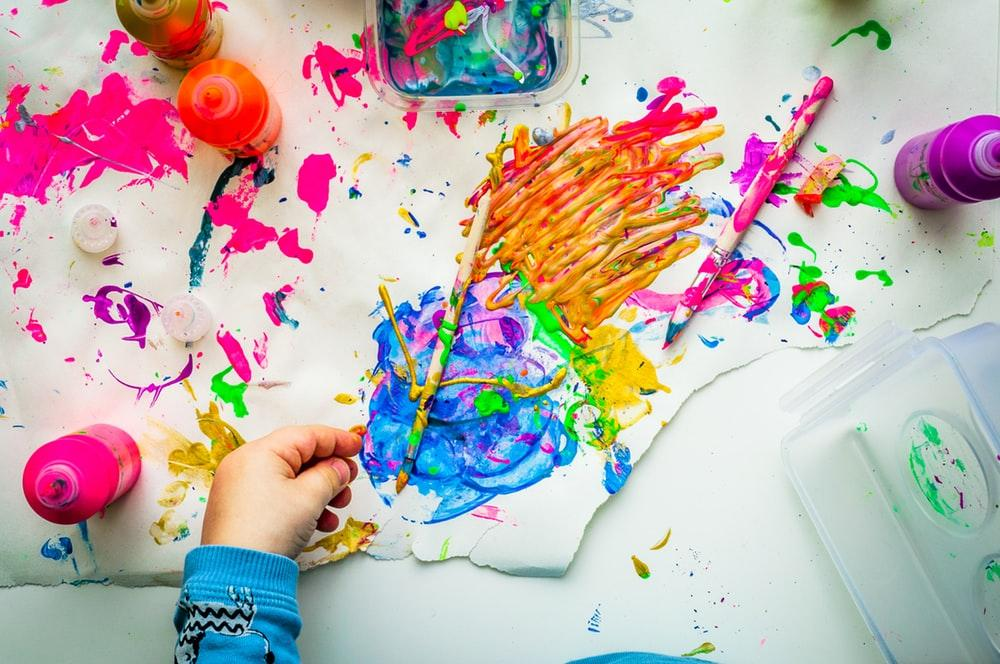 flat lay photography of a childs painting