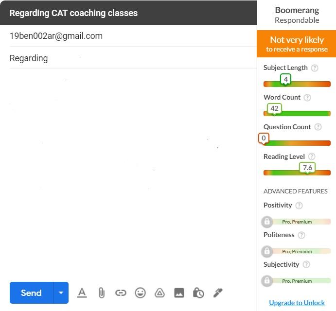 Boomerang settings in Gmail