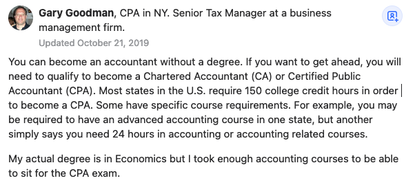 """Accountant Gary Goodman answers question on Quora, """"Can I become an accountant without a degree in accounting?"""""""