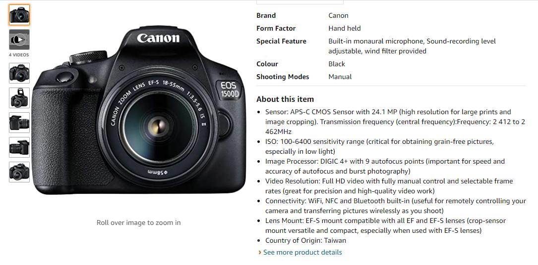 camera description on amazon listing