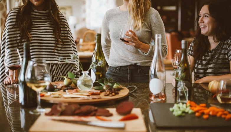 To help with downsizing, friends enjoy a meal together instead of exchanging gifts.