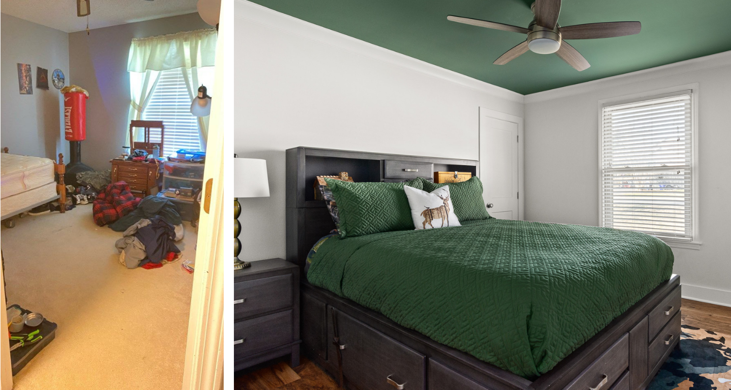 Superior construction and design Lebanon, TN 1970s Ranch Reno boys bedroom with forest green ceiling and dark bedroom set
