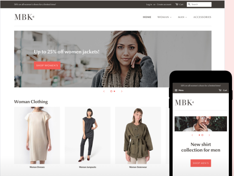 shopify free theme: Minimal - Fashion style