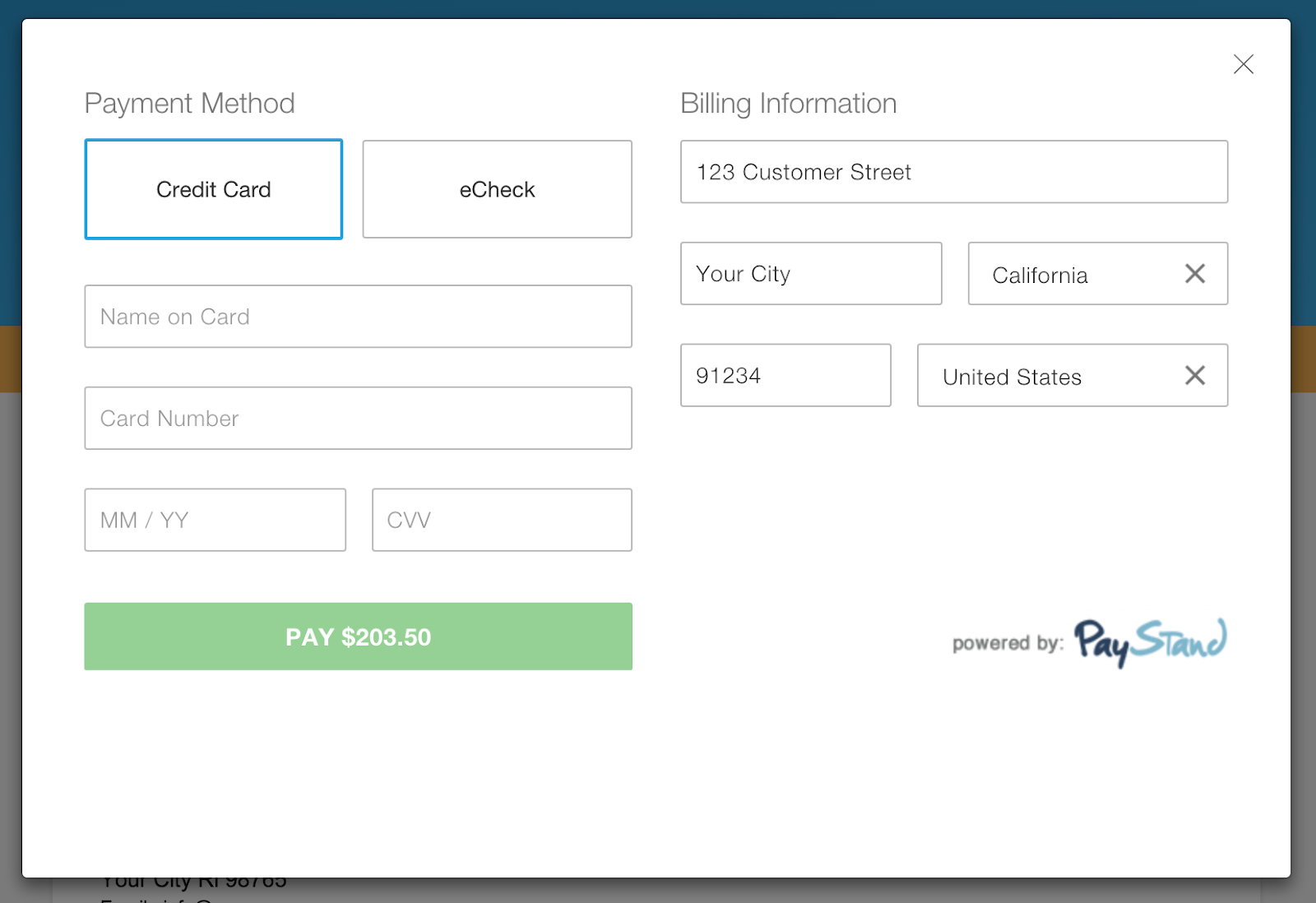 oneup payments by paystand one up knowledge center when clicking pay now they will see a preview of the invoice and the payment checkout form the client address is filled in automatically from the billing